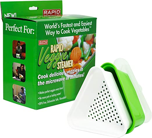 Rapid Veggie Steamer | Microwave Fresh & Frozen Vegetables in Less Than 4 Minutes | Perfect for Dorm, Small Kitchen, or Office | Dishwasher-Safe, ...