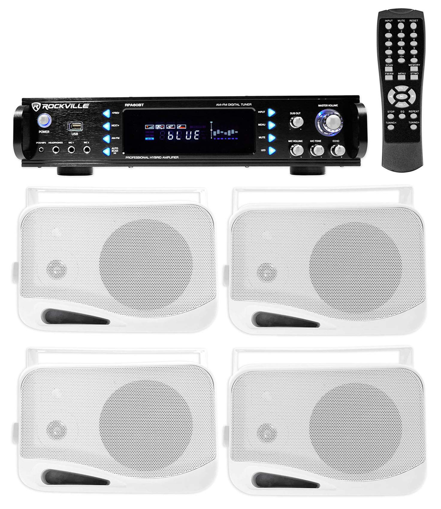 Rockville 1000w Home Theater System w/Bluetooth Receiver+(4) 4'' Swivel Speakers by Rockville