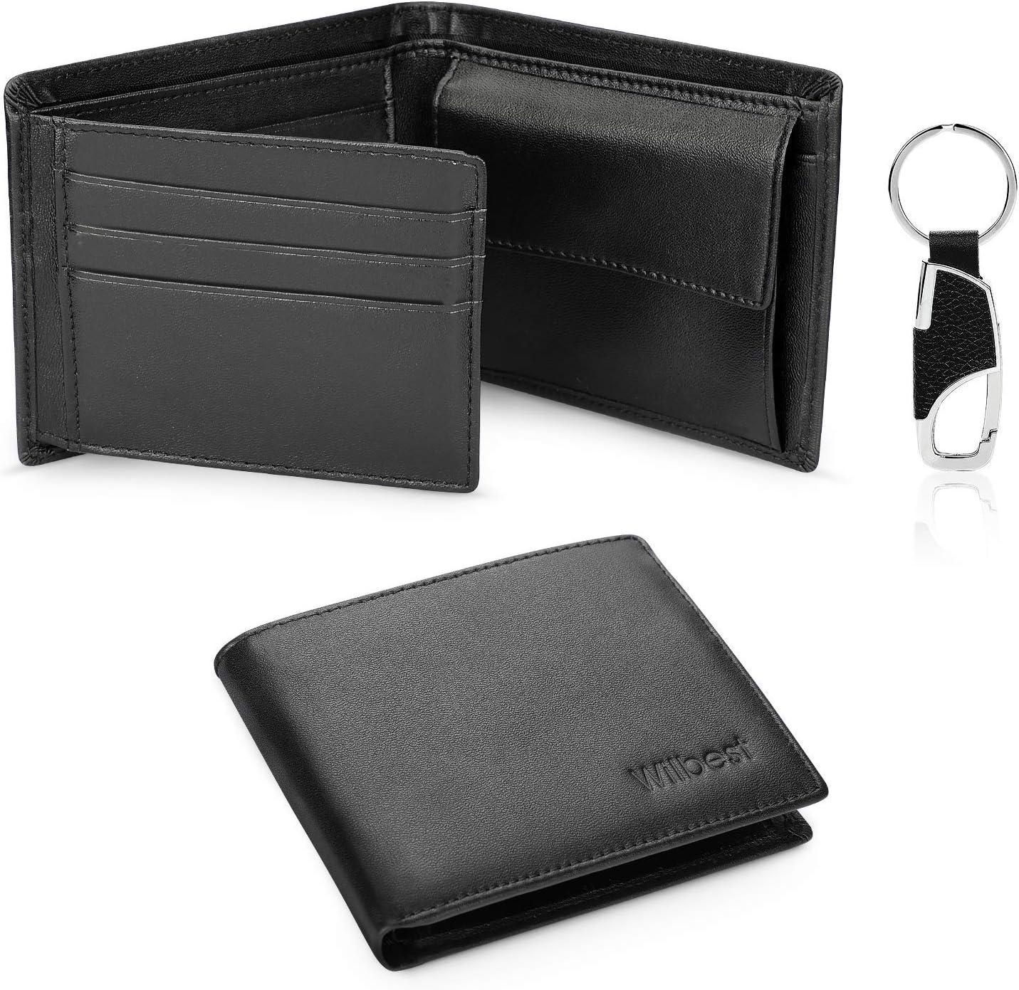 wilbest Portefeuille Homme en cuir,RFID Blocage, Porte Monnaie avec Porte-clé,