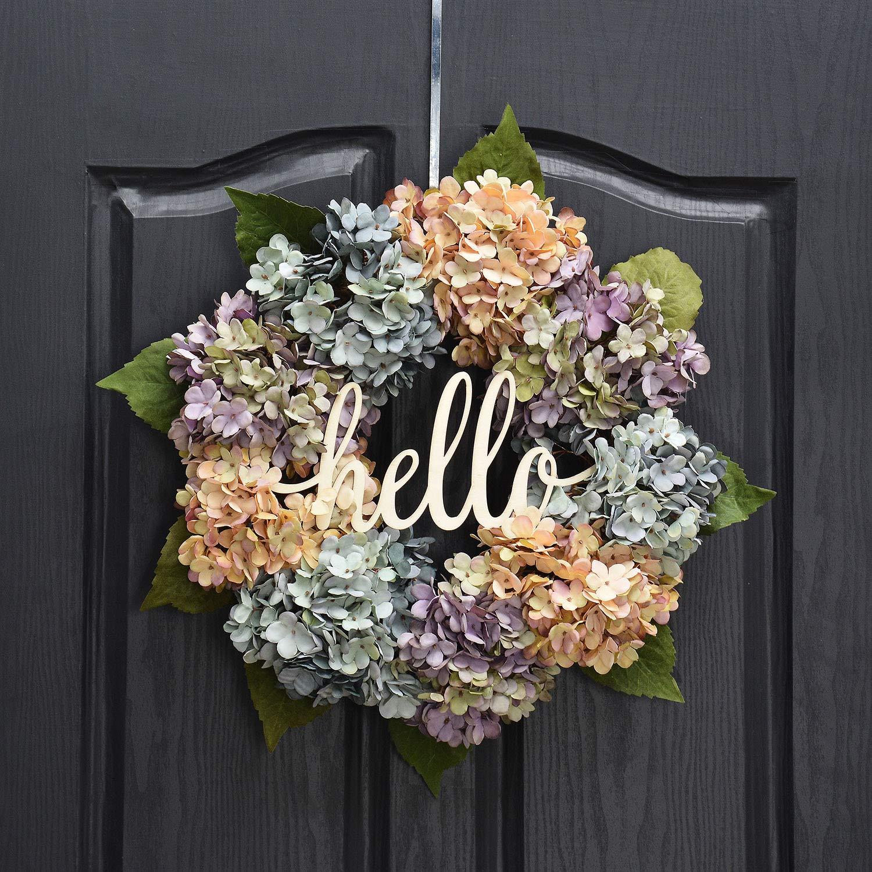 QUNWREATH Handmade 17 inch Hydrangea Series Wreath,Hydrangea,Leaf,Hello Letter,Fall Wreath,Wreath for Front Door,Rustic Wreath,Farmhouse Wreath,Grapevine Wreath,Light up Wreath,Everyday Wreath,QUNW20 by QUNWREATH