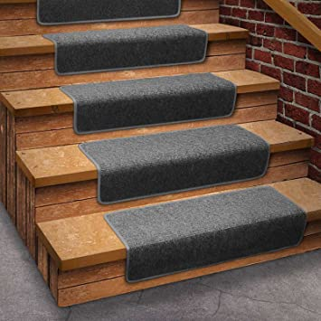 13 Attachable Basement Step Carpet Stair Treads   Gray