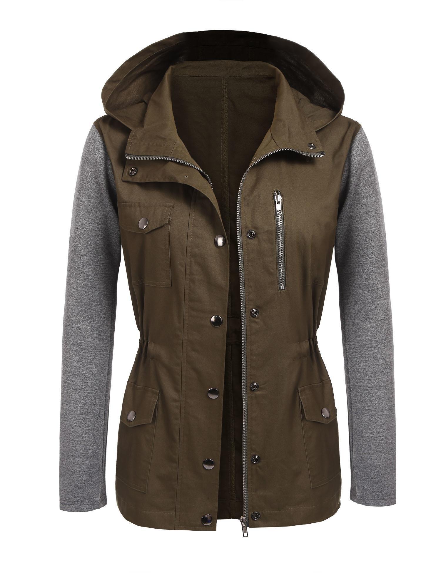 Beyove Womens Spring Jacket Military Anorak Safari Utility Drawstring Hoodie Jacket by Beyove