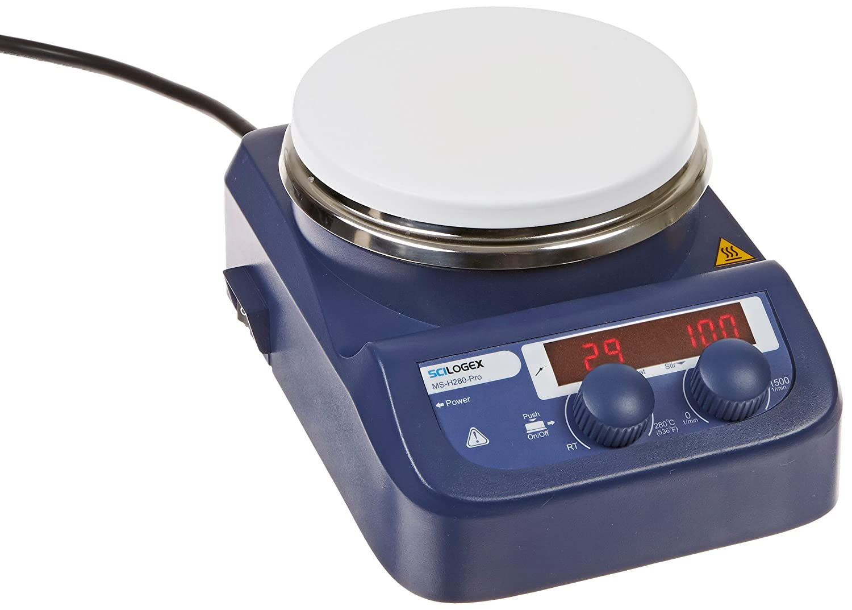 "Scilogex 86143101 Model MS-H280-Pro LED Circular-Top Digital Magnetic Hot Plate Stirrer with 5.3"" Diameter Ceramic Coated Plate, 110V"