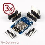 AZDelivery D1 Mini NodeMcu Lua ESP8266 ESP-12E Internet Module WIFI carte de développement pour Arduino, compatible avec WeMos D1 Mini à 100% (3x D1 Mini)