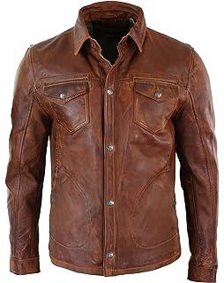 c01a7279ce4 Veste homme cuir véritable marron clair délavé coupe cintrée boutonnée  rétro décontracté