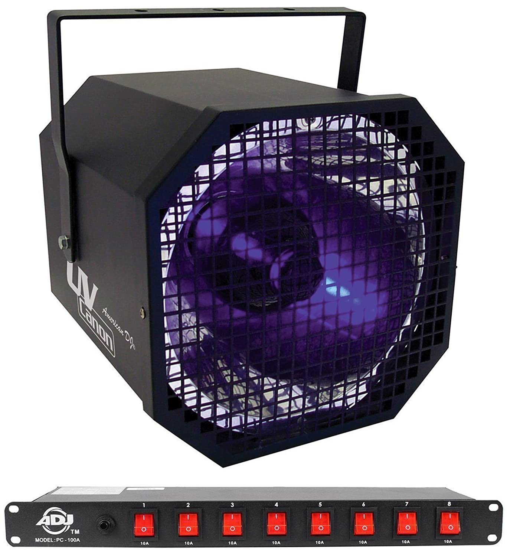 Package: American DJ UV Canon 400 Watt High Powered Blacklight + American DJ PC-100A 8-Switch Rack Mount On/Off AC Power Strip Source UV Canon+PC-100A