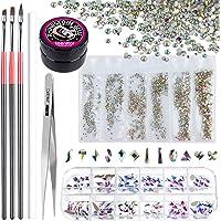 Rhinestones for Nails, Teenitor 1728pcs 6 Sizes Rhinestones Crystals and 120pcs Multi Shapes Nail Diamonds with Nail Art…