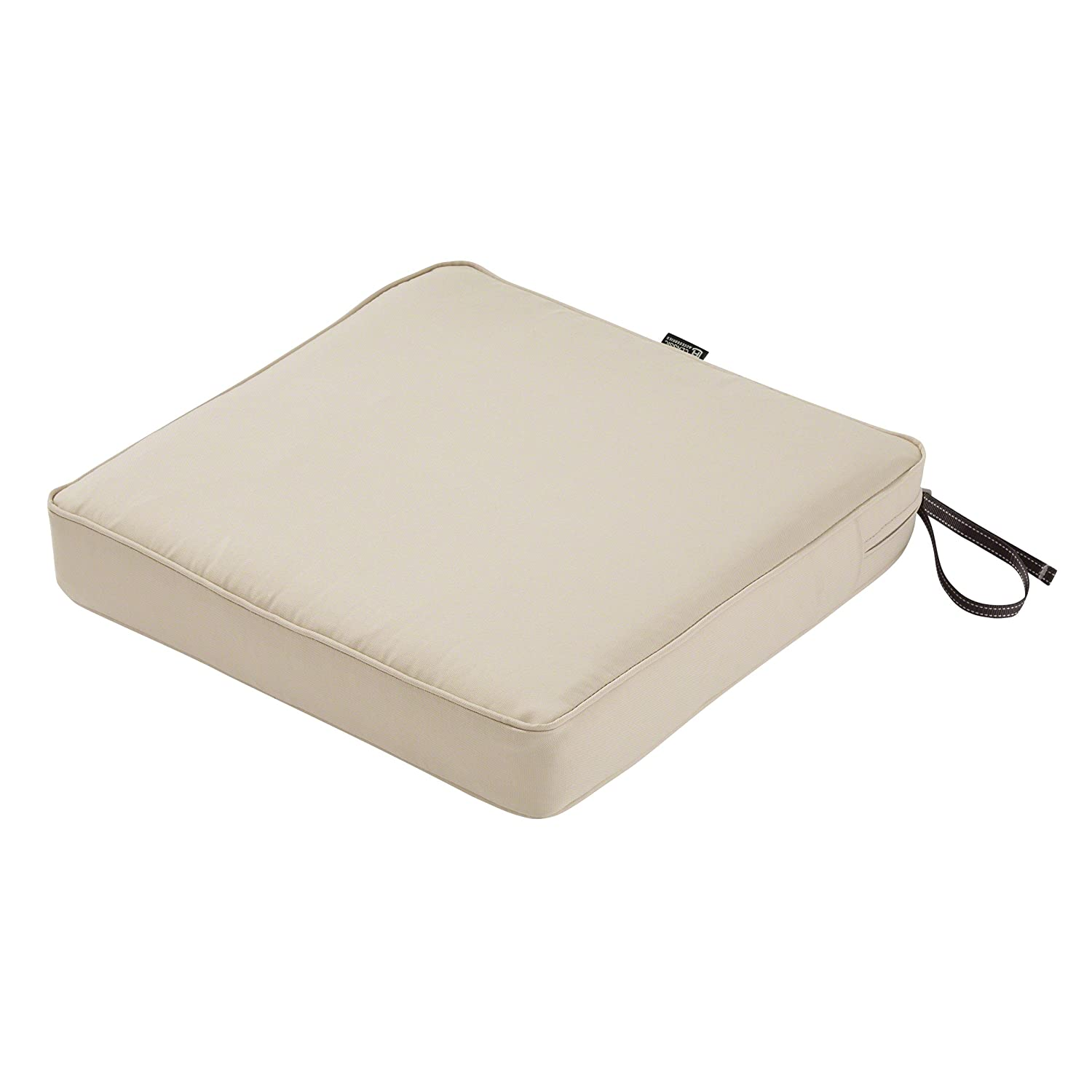"""Classic Accessories Montlake Seat Cushion Foam & Slip Cover, Antique Beige, 17x17x3"""" Thickwith Montlake Cushion"""