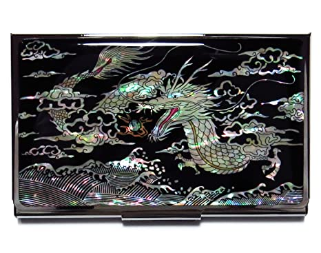 Amazon dragon black business credit card case id holder metal dragon black business credit card case id holder metal travel wallet mother of pearl reheart Image collections