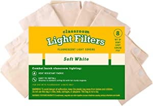 Fluorescent Light Diffuser Covers (Set of 8) Filters Light for Classrooms and Offices - Flame-Retardant Fabric (Soft White)