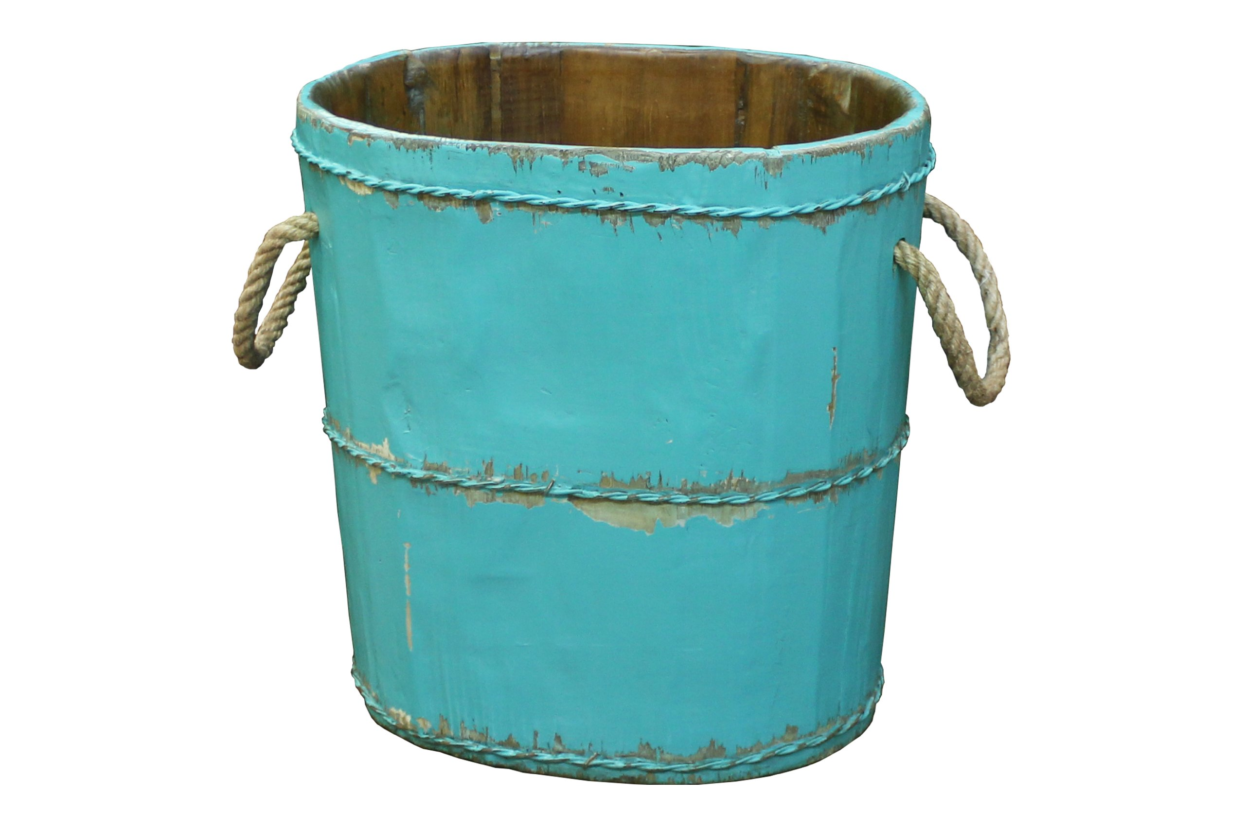 Antique Revival Altai Tapered Wooden Bucket, Turquoise
