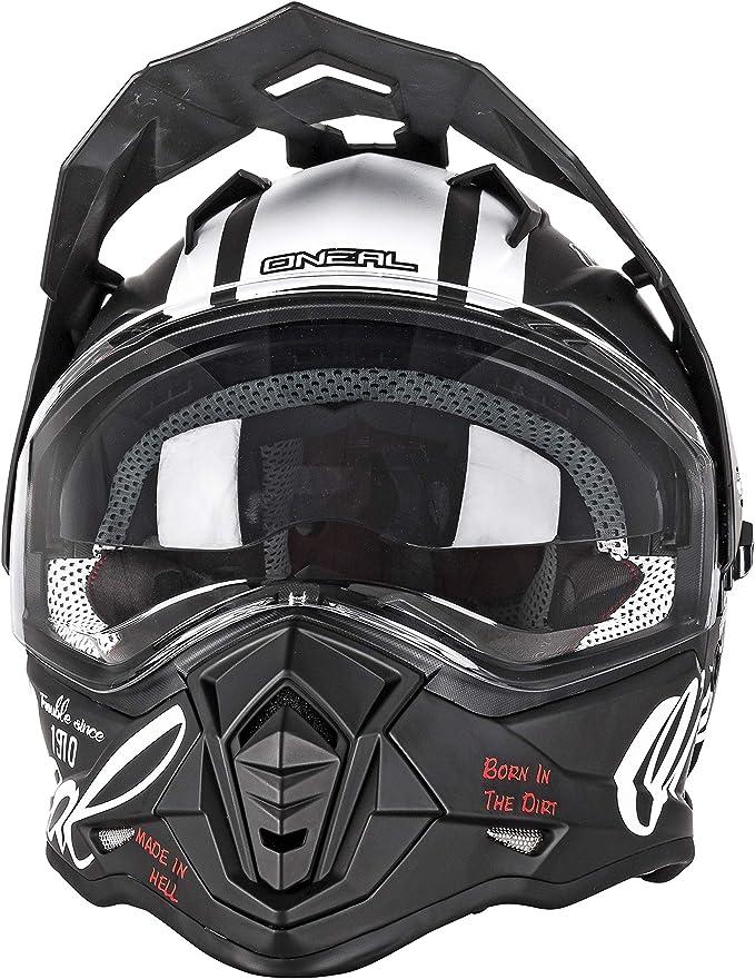 O Neal Motorrad Helm Enduro Adventure Street Ventilationsöffnungen Für Maximalen Luftstrom Kühlung Integrierte Sonnenblende Sierra Helmet Torment Erwachsene Schwarz Weiß Größe M Bekleidung