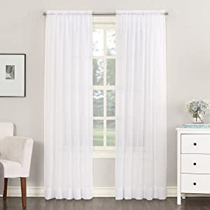 """No. 918 Emily Sheer Voile Rod Pocket Curtain Panel, 59"""" x 63"""", White"""