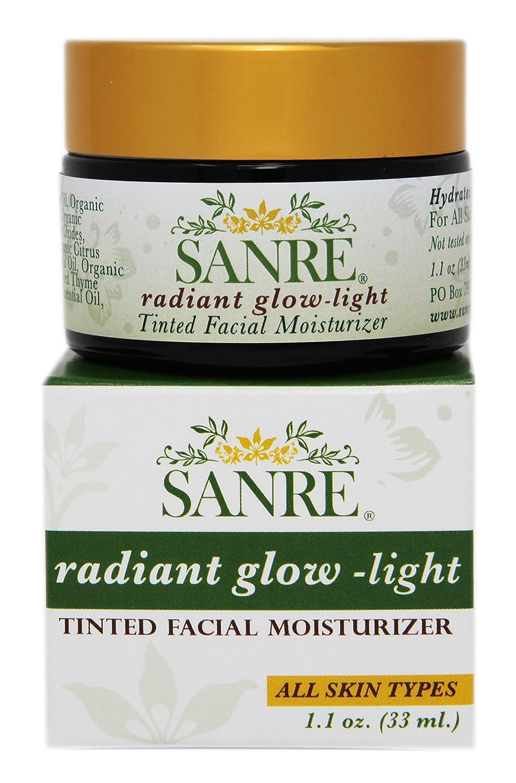 SanRe Organic Skinfood - Radiant Glow Light - Organic Tinted Facial Moisturizer For All Skin Types