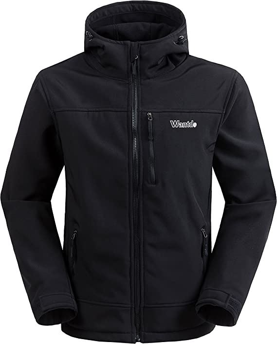 Wantdo Men's Hooded Softshell Windproof Fleece Outdoor Jacket Black Medium