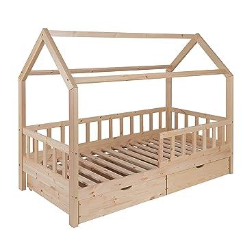 Hausbett Für Kinder 90x200 Cm Schönes Kinderbett Aus Holz Mit Schubladen Und Rausfallschutz Jugendbett Im Skandinavischen Haus Stil 90 X 200