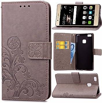 Guran Funda de Cuero PU para Huawei P9 Lite Smartphone Función de Soporte con Ranura para Tarjetas Flip Case Trébol de la suerte en Relieve Patrón Cover: Amazon.es: Electrónica