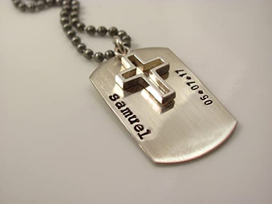 Sterling Silver Hand Stamped Personalized Dog Tag with a cross- Boys confirmation Gift boys first communion Gift