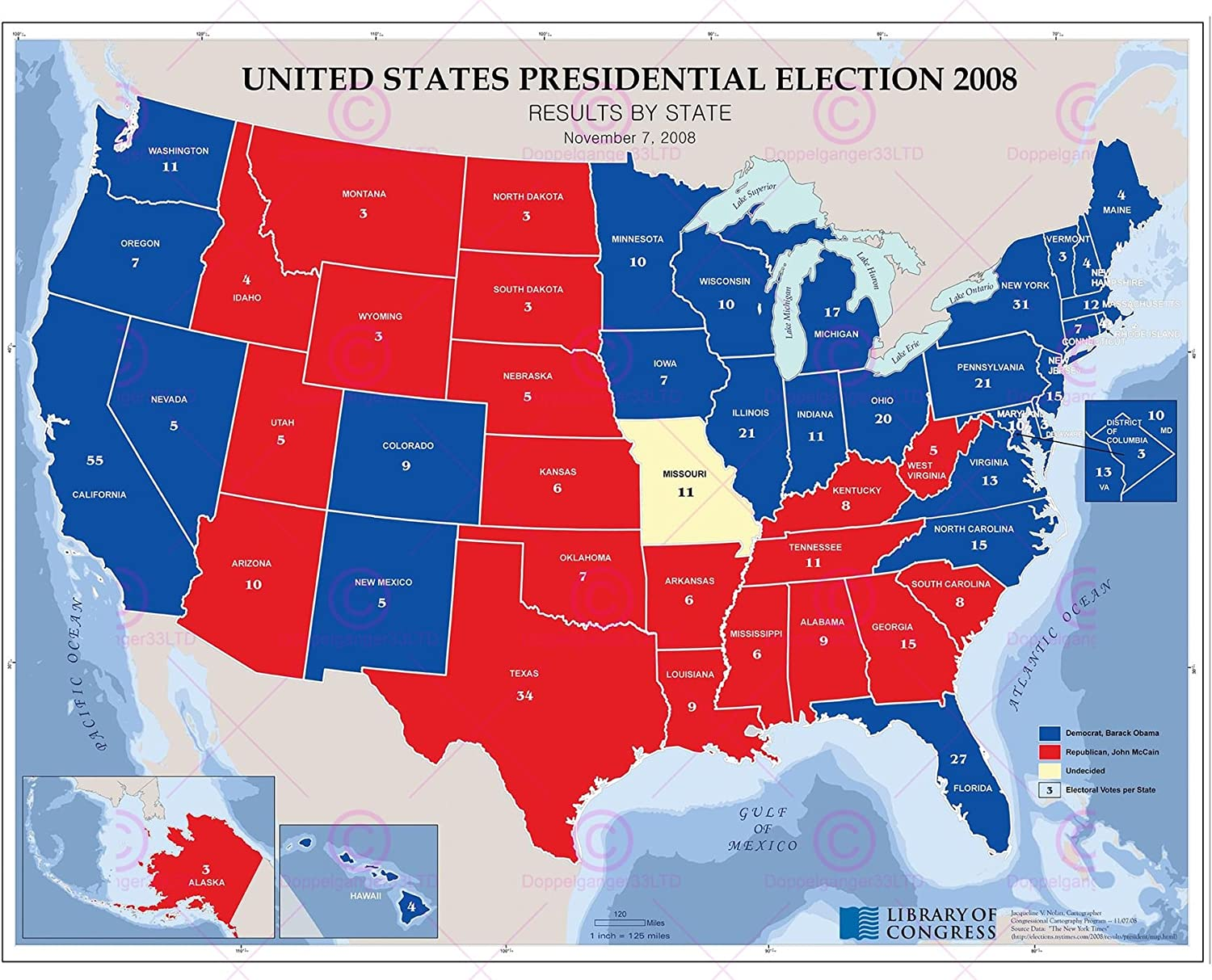 MAP POLITICAL USA 2008 PRESIDENTIAL ELECTION LARGE REPLICA POSTER PRINT PAM1426