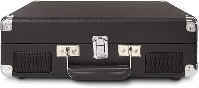 Crosley Cruiser - Tocadiscos de vinilo portátil (3 velocidades, altavoces estéreo integrados, con enchufe UK) diseño maletín, negro
