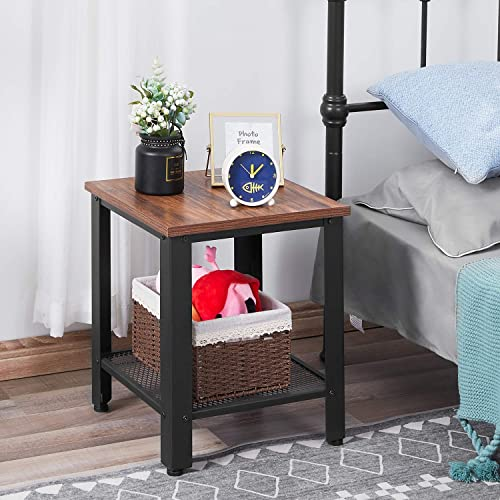 Kealive Industrial End Table, 2-Tier Side Table with Storage Shelves Metal Frame, Easy to Assemble, 15.7 X 15.7 X 17.7 inches Rustic Brown