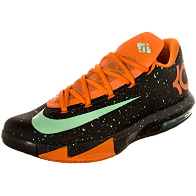 Nike Mens KD VI Black/Green glow-urban orange 599424-002 11.5