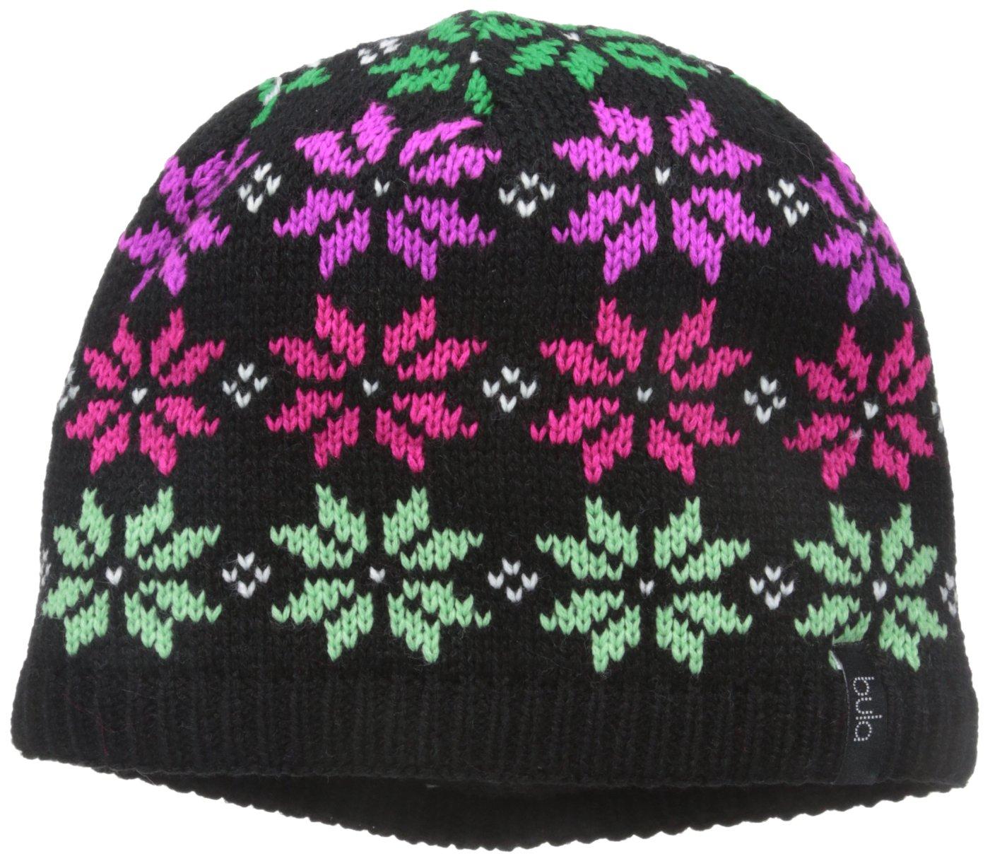 BULA Girls Snowy Beanie, Black, One Size KABSNO-5