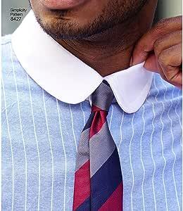 8427Pattern 8427 - Camisa ajustada para hombre con cuello y puños variantes por Mimi G