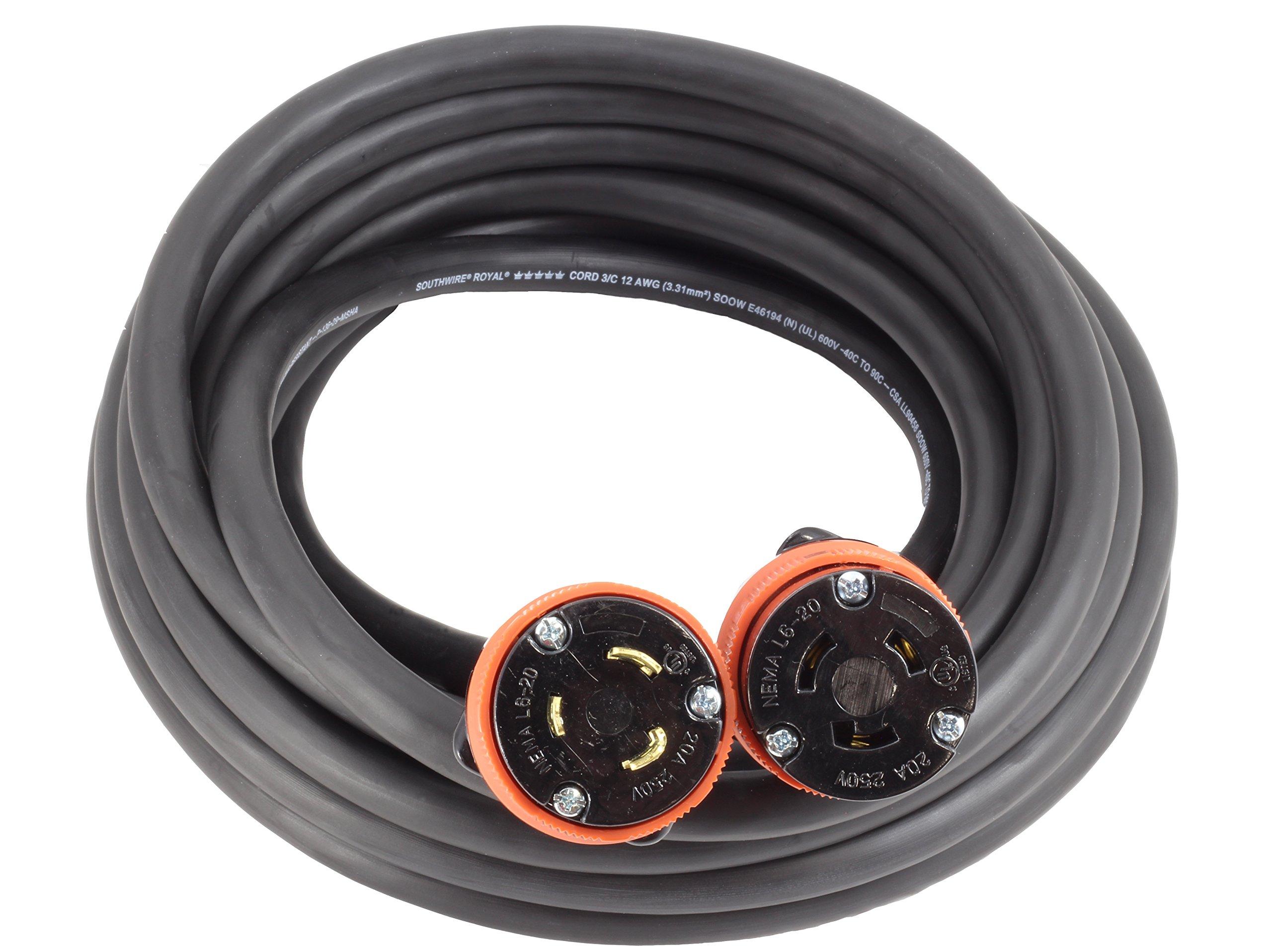AC WORKS [L620PR-100] 100FT SOOW 12/3 NEMA L6-20 20Amp 250Volt Generator Rubber Extension Cord