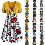 Summer Dress for Women Sunflower Floral Print Spaghetti Strap Dress Boho Beach Sundress Swing Dress with Cardigan