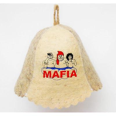 PetriStor Sauna Hat Embroidered Mafia for Man Natural Felt Made in Ukraine : Garden & Outdoor