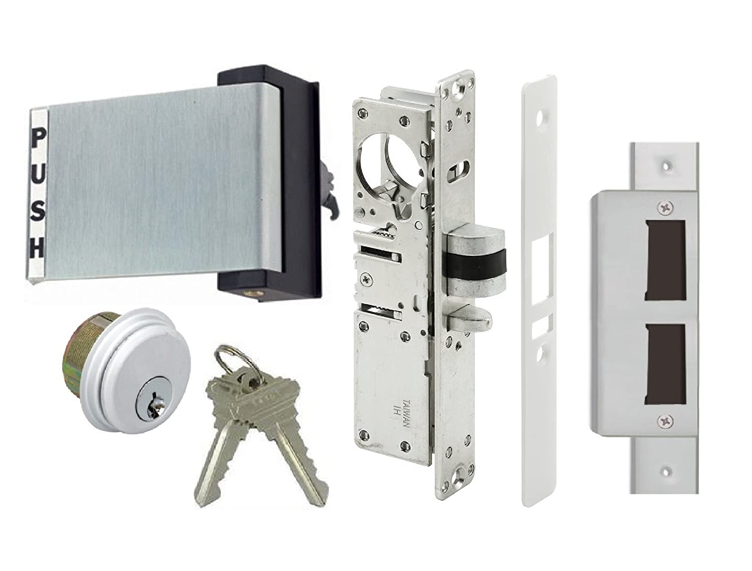 Adams Rite style latch storefront door mortise deadlatch lock exit paddle  handle kit with cylinder and keys, in aluminum (1-1/8