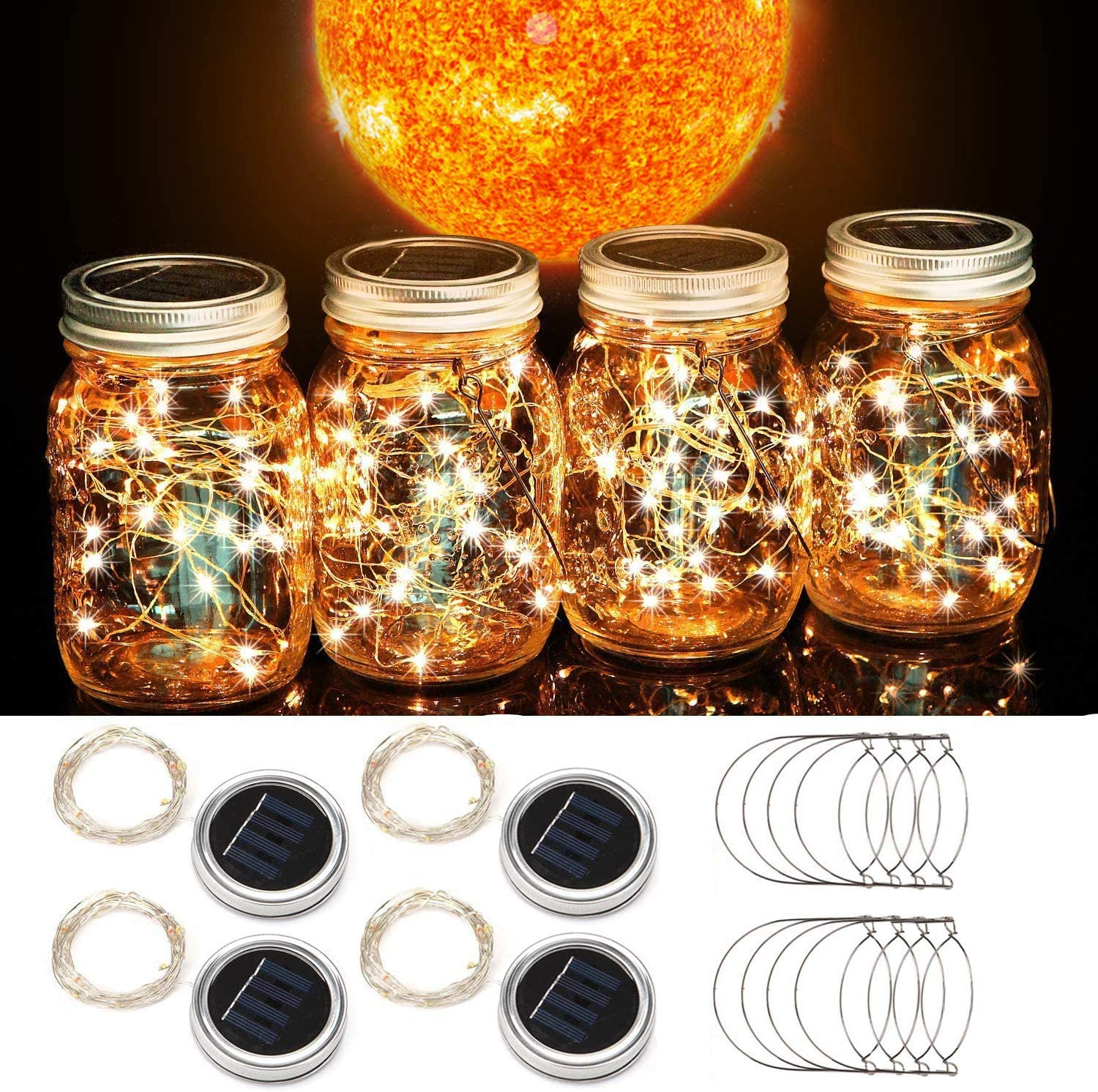 Beinhome Solar Mason Jar Lid String Lights 4 Pack 30 LED String Fairy Lights Including 4 Hangers (No Jars),for Mason Jar Garden Patio Wedding Lantern Decorations