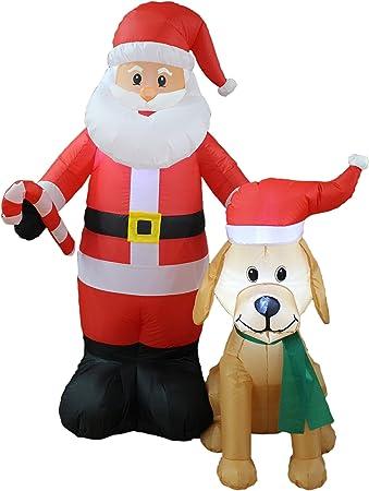 Amazon.com: 5 foot Tall Lighted hinchable de Papá Noel de ...