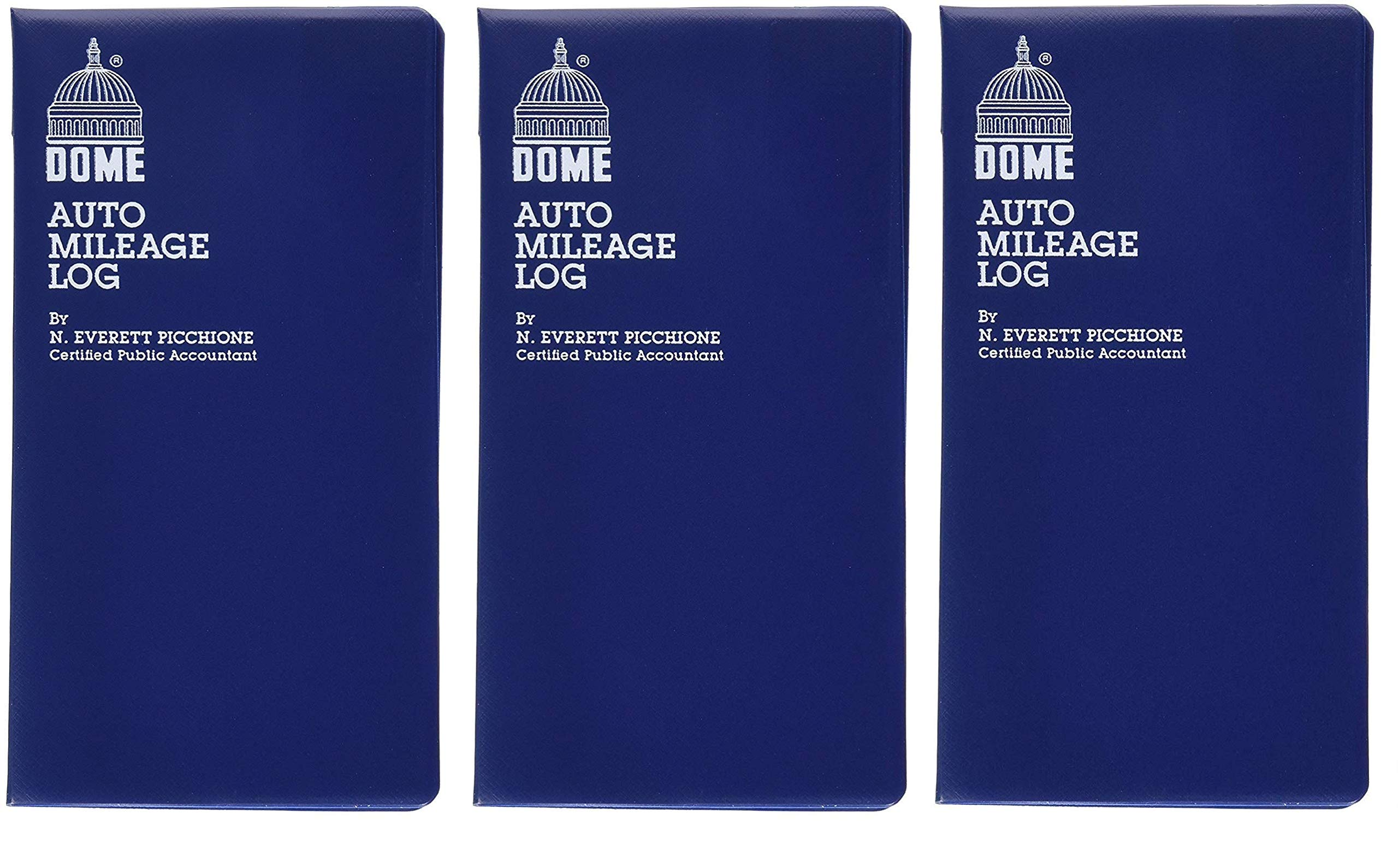 Dome(R) Auto Mileage Log, Vinyl Cover, 3 1/4in. x 6 1/4in, Blue (Тhree Pаck) by DomeSkin