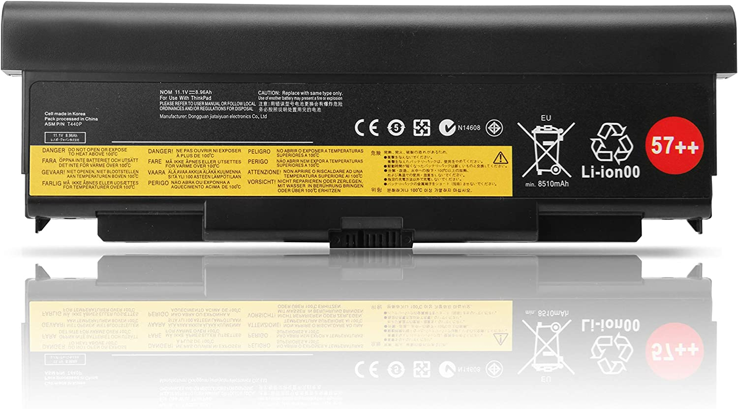 Fully New 57++ Replacement Laptop Battery Compatible with Lenovo ThinkPad T440P T540P W540 W541 L440 L540 45N1152 45N1153 0C52864-9 Cell 11.1V 8510mAh