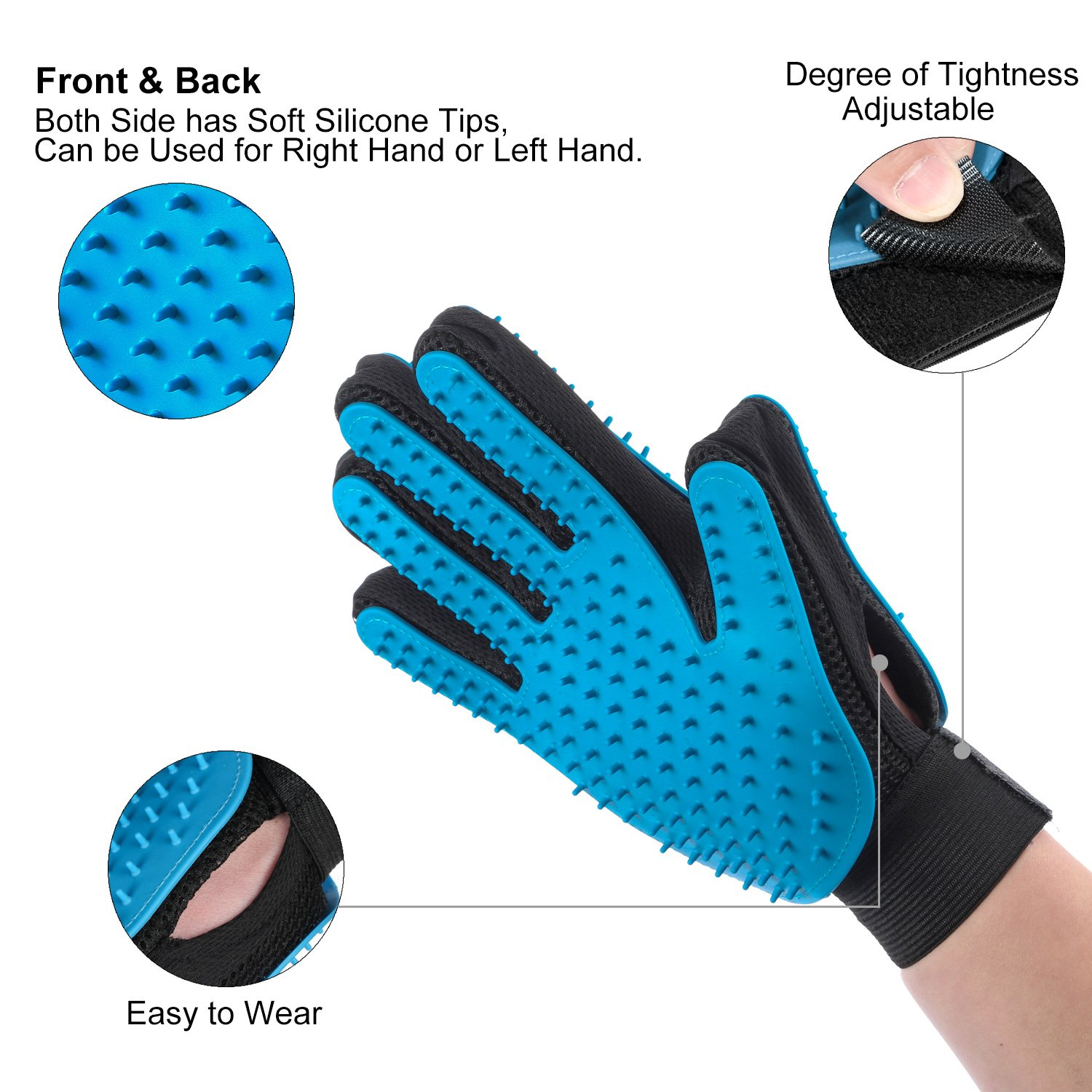 Pet Grooming Glove for Long and Short Fur - Hair Remover Mitt - Gentle Deshedding Brush - Efficient Double Side with Five Finger Design for Horses, Dogs and Cats - Blue