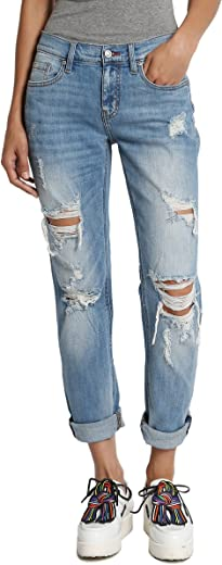 TheMogan Distressed Girlfriend Straight Relaxed Roll Up Jeans in Light Blue Wash