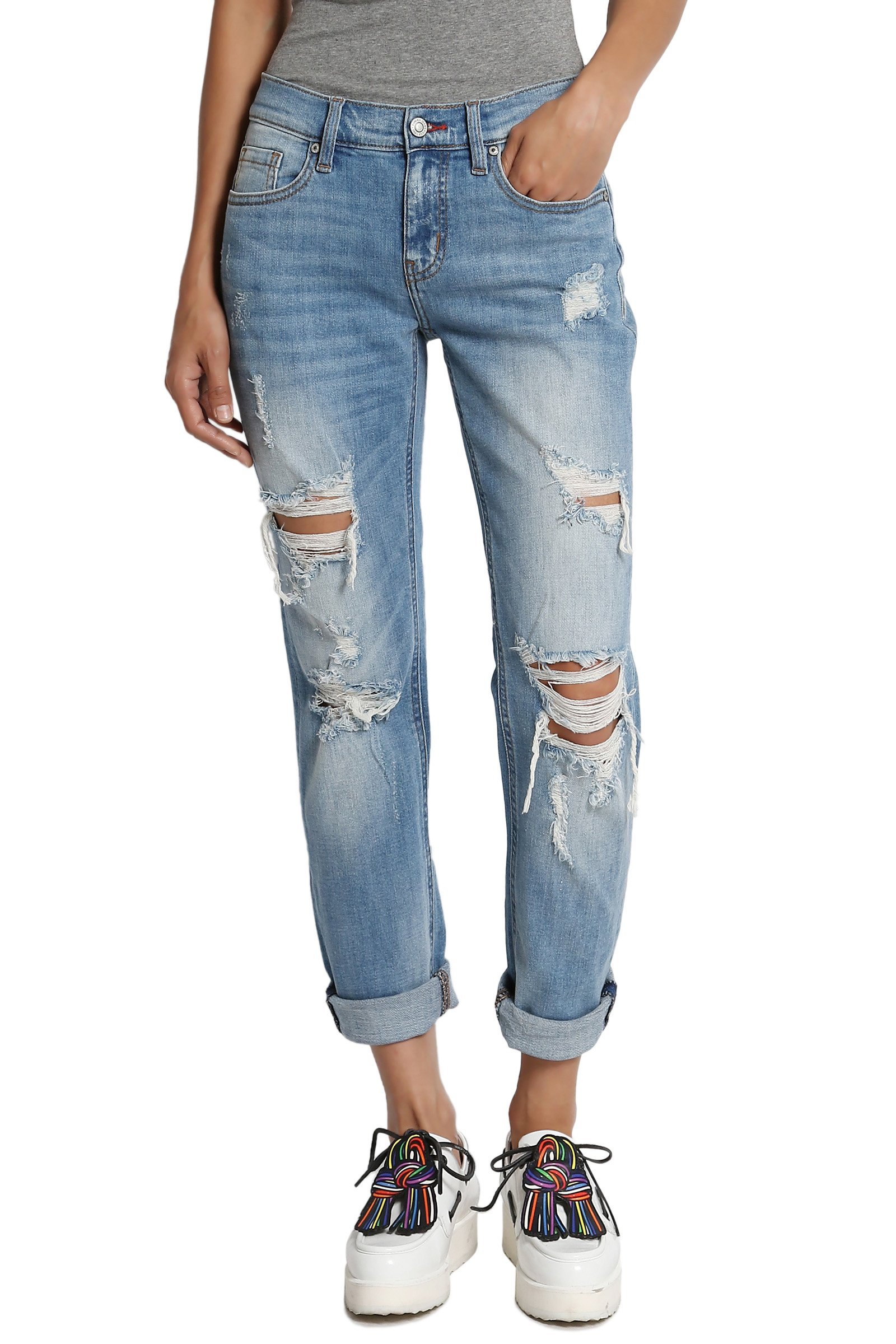 TheMogan Women's Distressed Washed Denim Mid Rise Boyfriend Jeans Medium 13