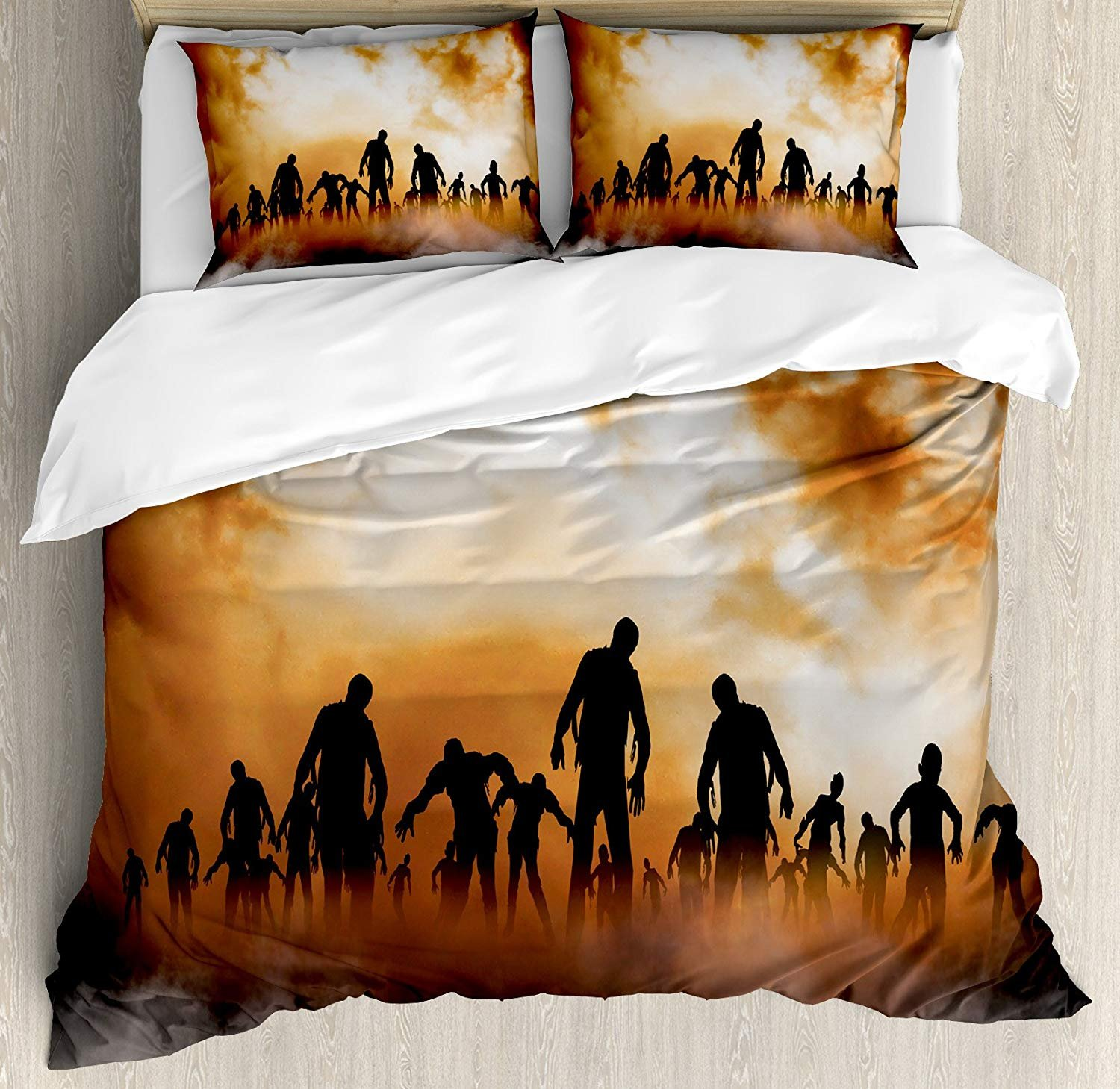 Halloween Luxury Duvet Cover Set Soft Bedding Sets Full Size - with Flat Sheet Comforter Protector and Pillow Shams - Zombies Dead Men Walking Body in The Doom Mist at Night Sky Haunted Theme Print