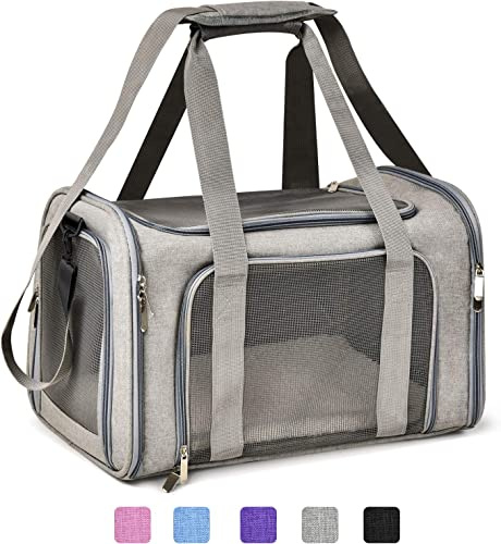 Henkelion Cat Carriers Dog Carrier Pet Carrier for Small Medium Cats Dogs Puppies of 15 Lbs, TSA Airline Approved Small Dog Carrier Soft Sided, Collapsible Puppy Carrier – Black Grey Pink Purple Blue