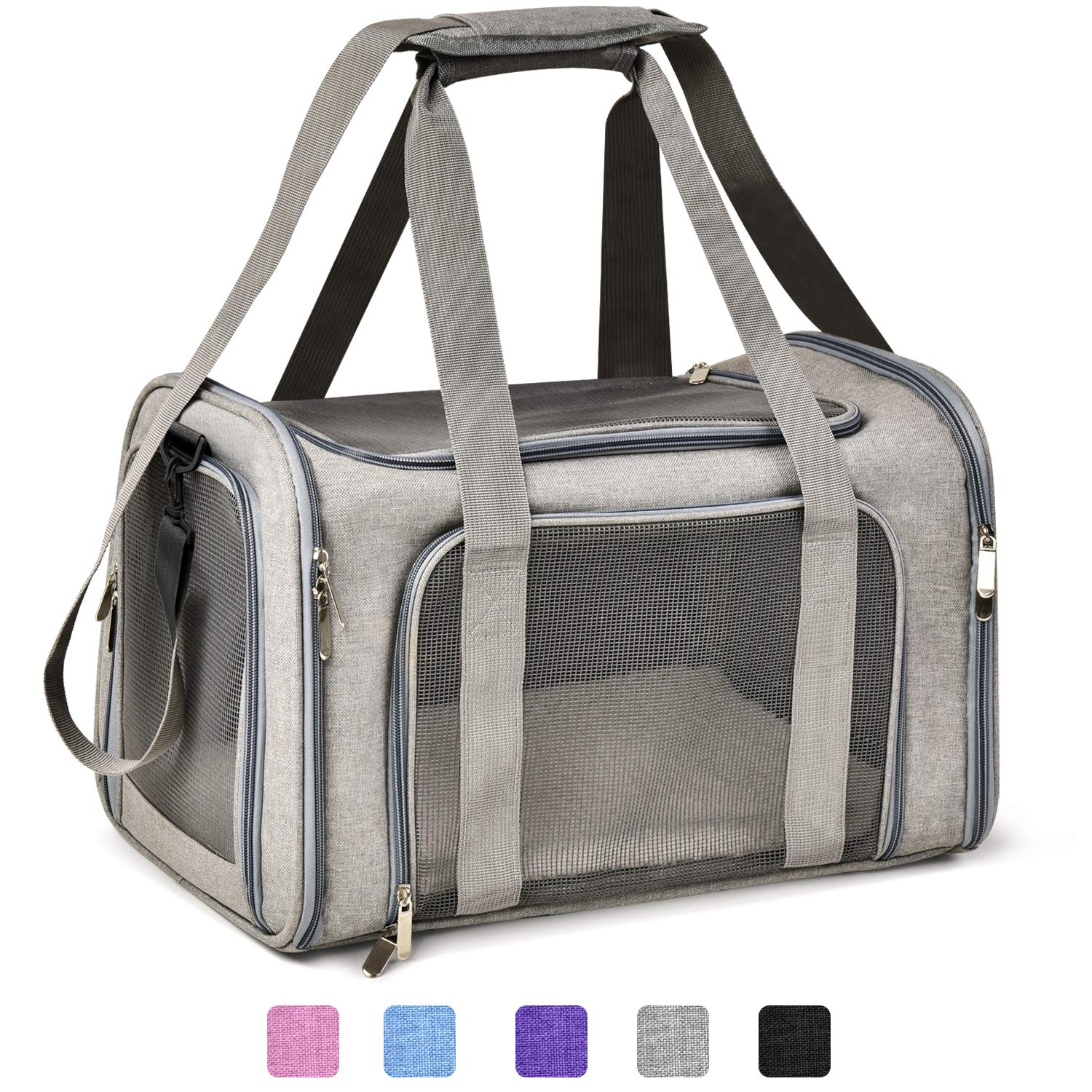Henkelion Cat Carriers Dog Carrier Pet Carrier For Small / Medium Cats Dogs Puppies (Up To 15lbs), TSA Airline Approved Small Dog Carrier Soft Sided, Collapsible Waterproof Travel Puppy Carrier - Grey by Henkelion
