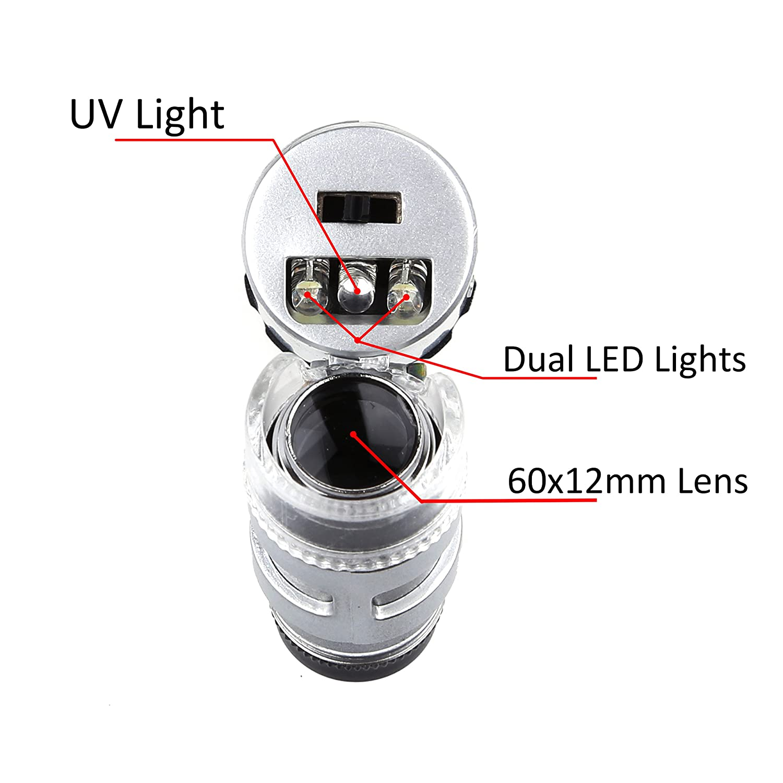 60X mini Lente di Ingrandimento da Gioielliere LED UV Lente di Ingrandimento con confezione Kare and Kind per vendita al dettaglio 60X