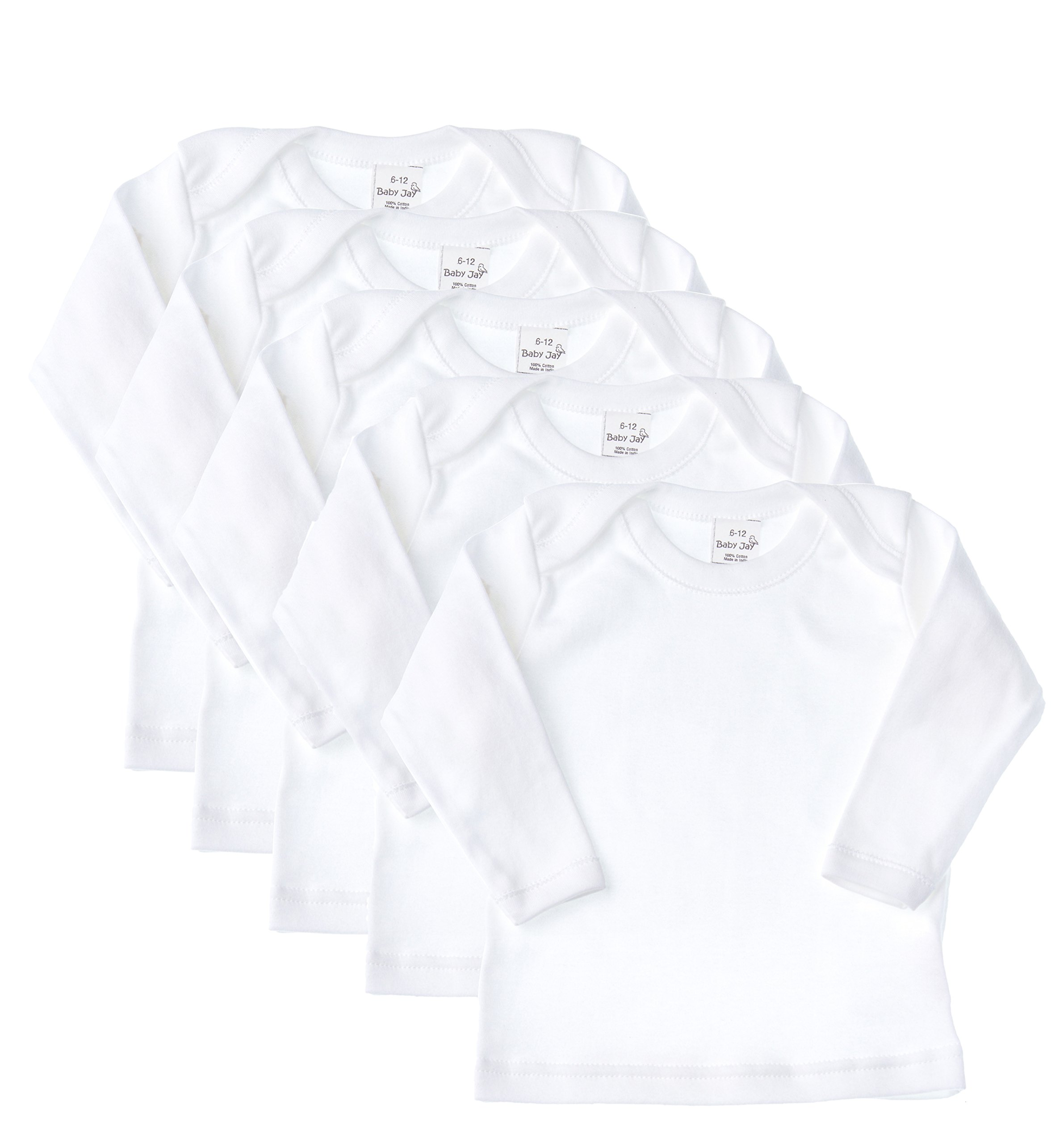 Baby Jay Cotton Undershirt T-Shirt, Long Sleeve Lap Shoulder - WTLE 18-24 5-Pack by Baby Jay (Image #1)