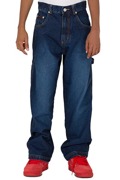eabc6d92 Vibes Boy's 14.5 oz Denim Carpenter Jeans Relax Fit Dark Indigo Wash Size 8  Blue