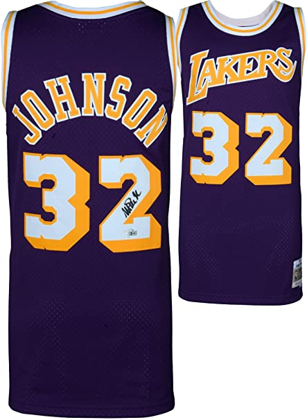 201228f0866 Magic Johnson Los Angeles Lakers Autographed Purple Mitchell   Ness  Hardwood Classics Swingman Jersey - Fanatics