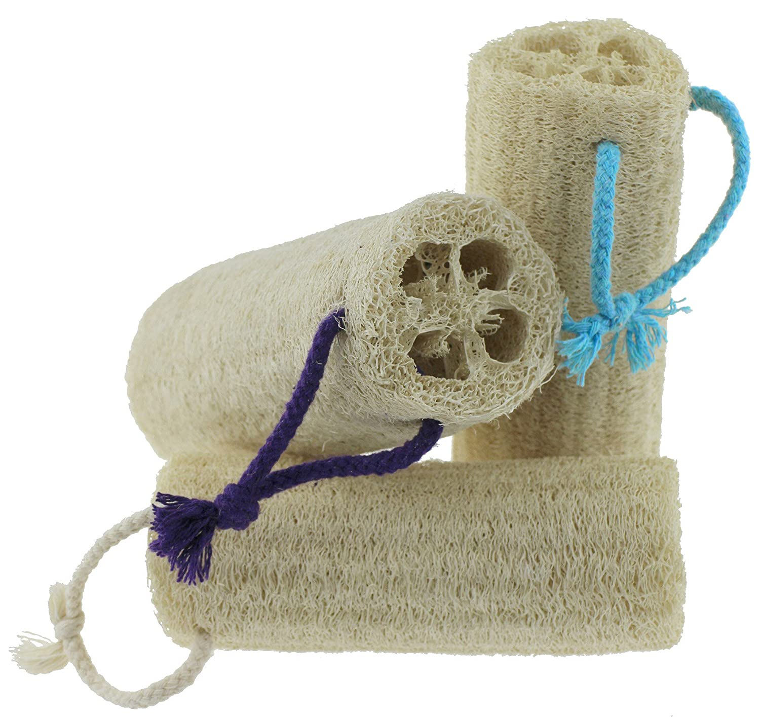 100% Natural Loofah Exfoliating Body Washcloths Sponge Scrubber for Skin Care in Bath, Spa or Shower Pack of 3