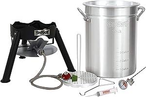 "Enterprises Turkey Fryer Deep Frying Complete Kit 30 Quart Aluminum Stockpot Perfect for Turkeys Up to 18 Pounds or Diameter of 11"""