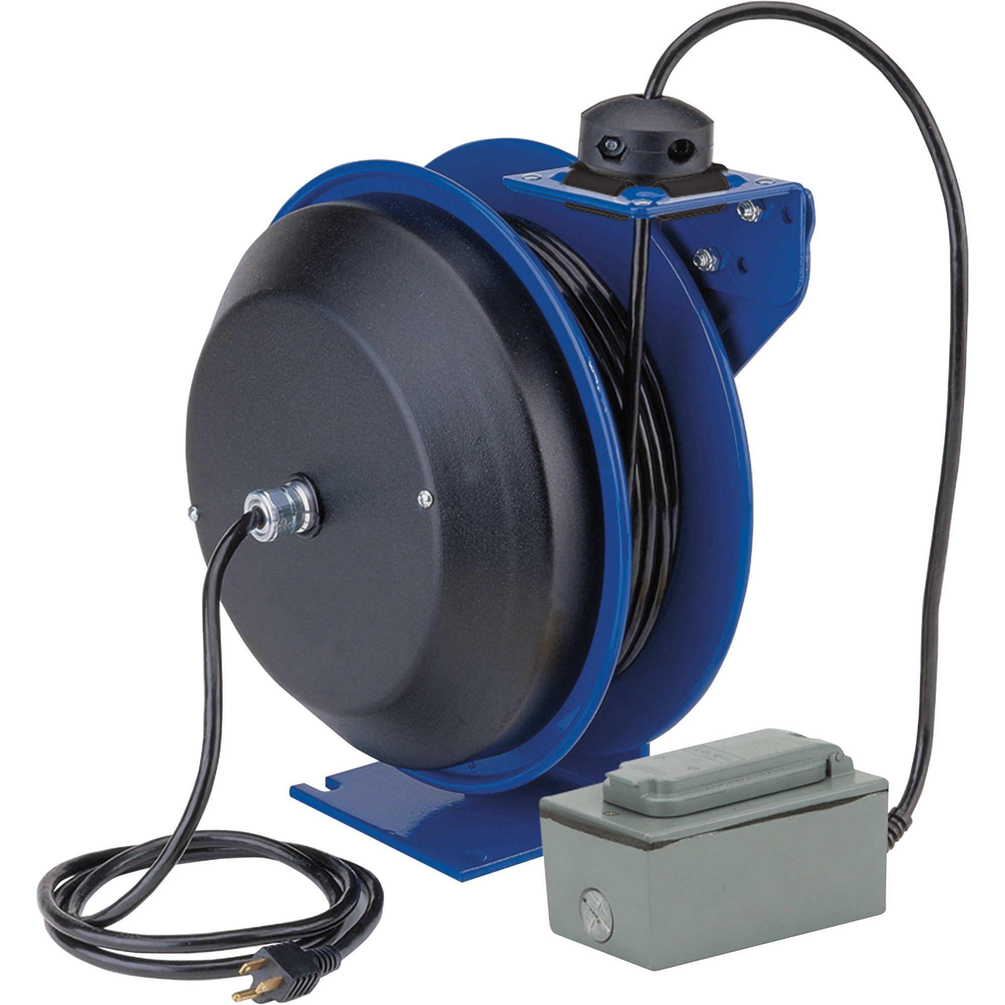 Coxreels PC13-5012-F Power Cord Spring Rewind Reels: Duplex Industrial Receptacle, 50' cord, 12 AWG