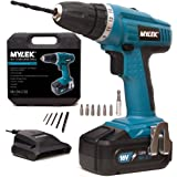 MYLEK® 18V Cordless NiCd Drill Driver with LED Work Light – 13 Piece Accessory Kit with Carry Case - Forward / Reverse, Variable Speed & Quick Stop Function
